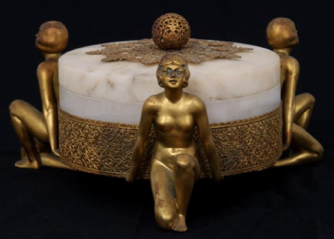 Alabaster Covered Box With Gilt Figures - 7