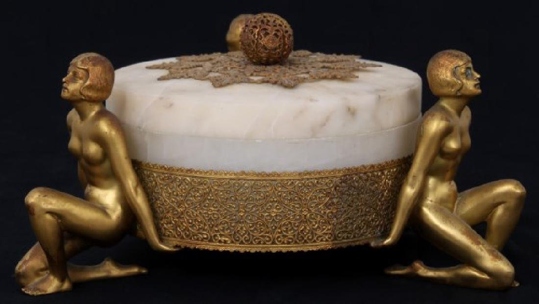 Alabaster Covered Box With Gilt Figures - 8