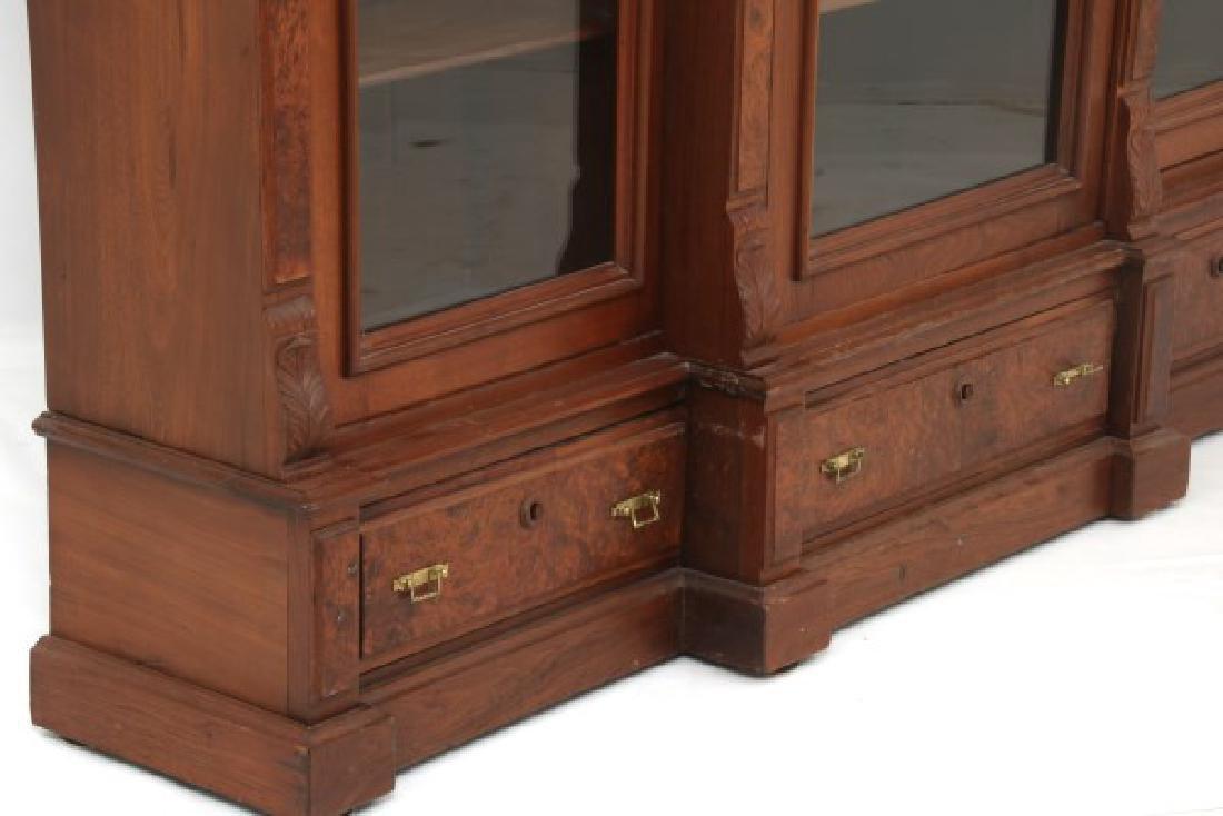 3 Door Walnut Bookcase - 10