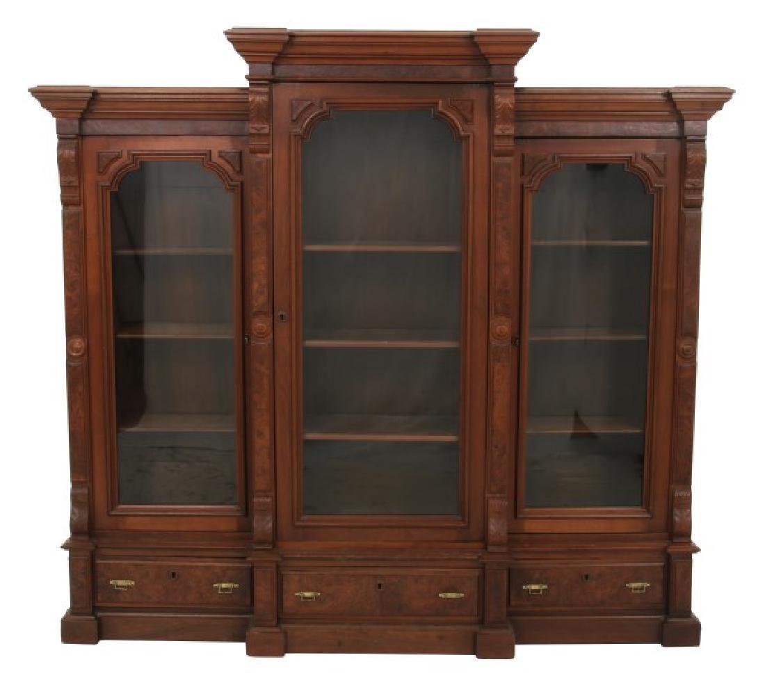 3 Door Walnut Bookcase