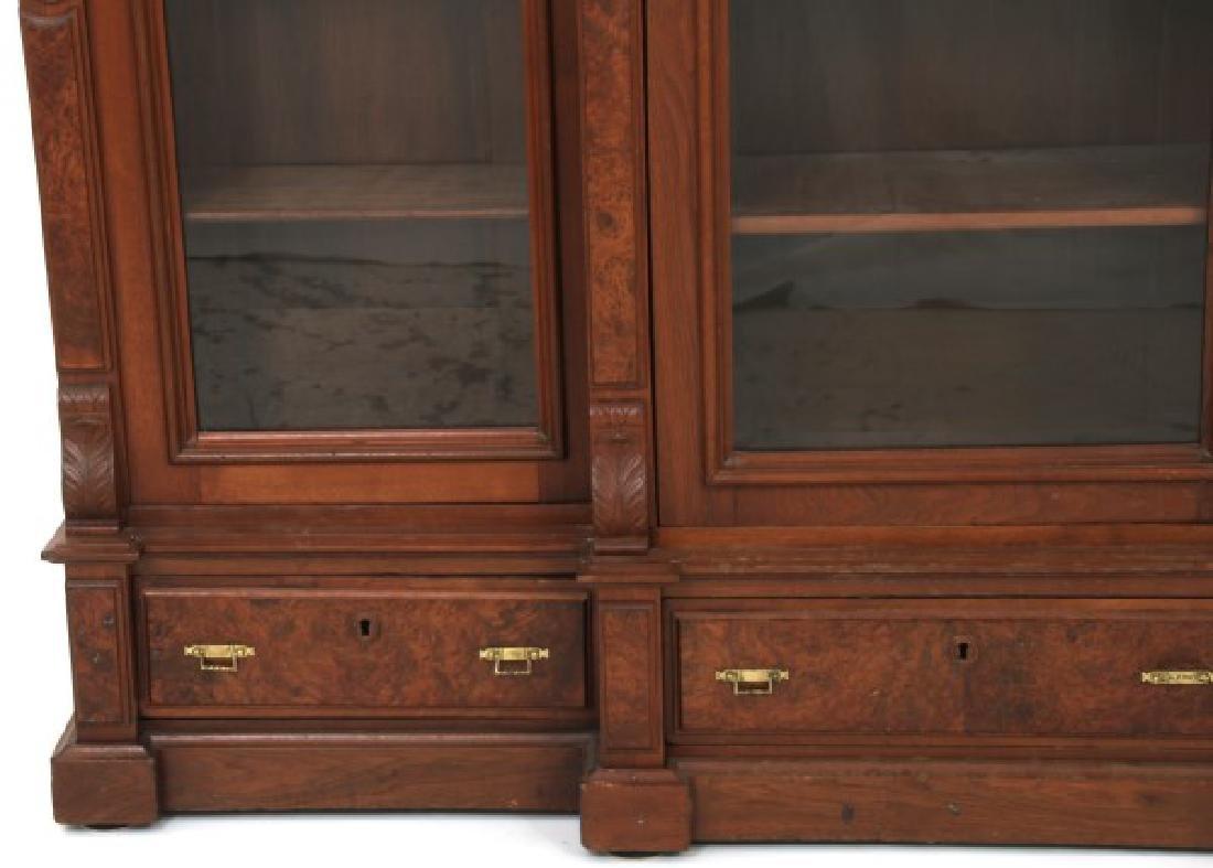 3 Door Walnut Bookcase - 3