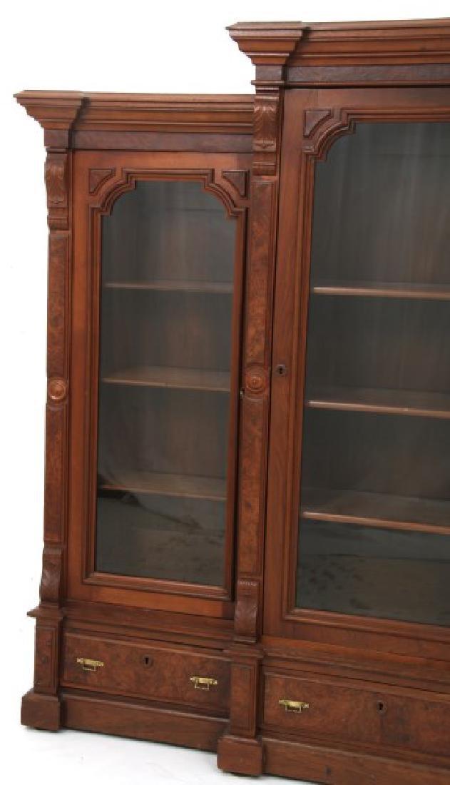 3 Door Walnut Bookcase - 4