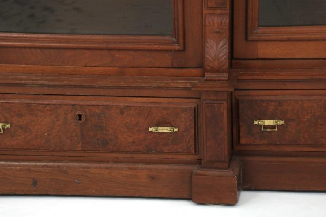 3 Door Walnut Bookcase - 5
