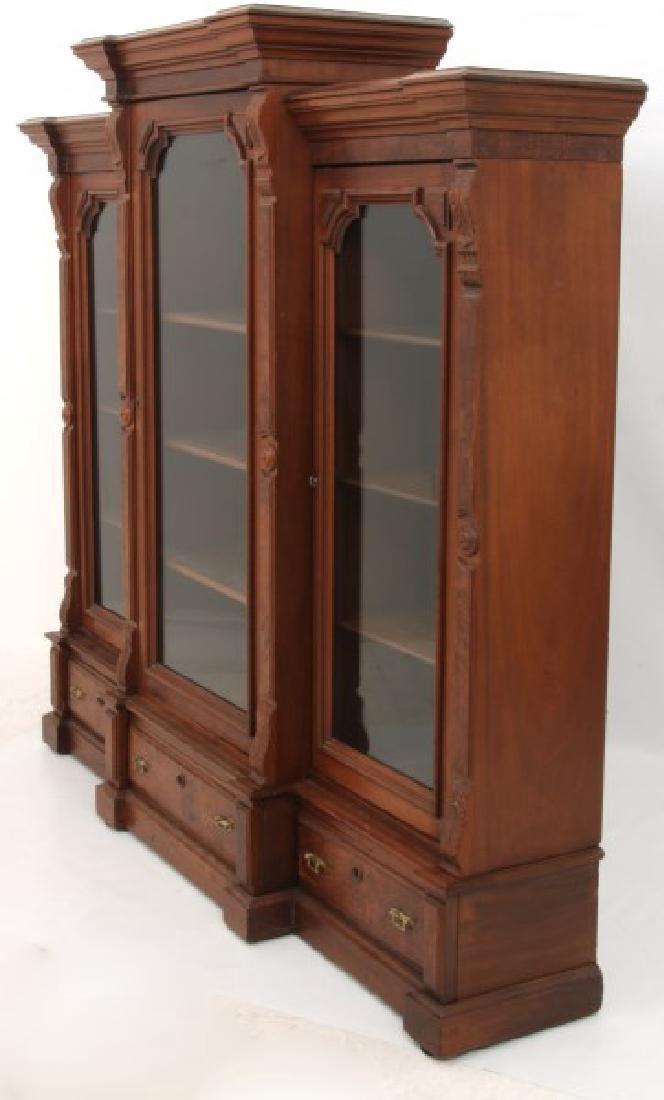 3 Door Walnut Bookcase - 7