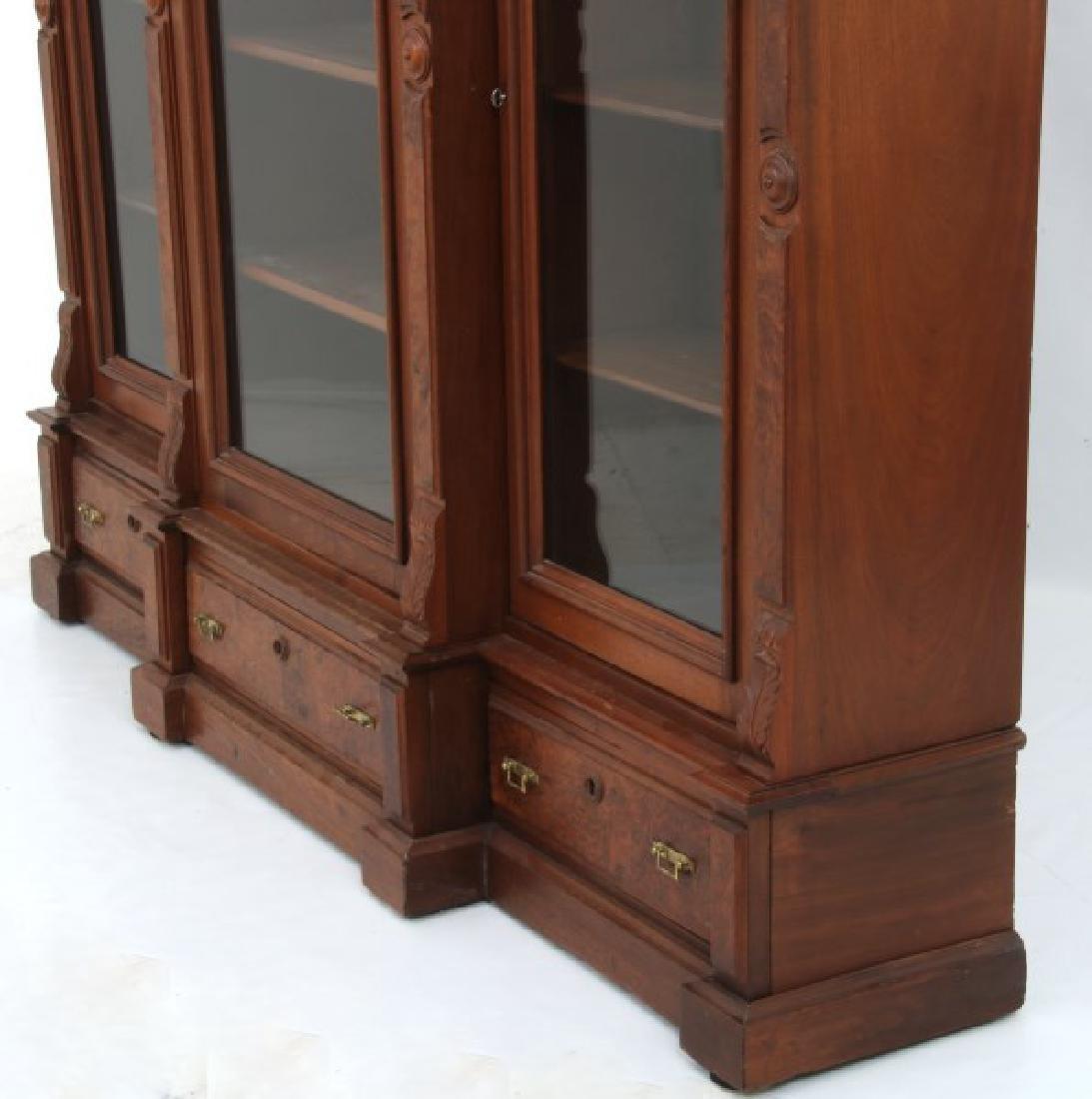 3 Door Walnut Bookcase - 8