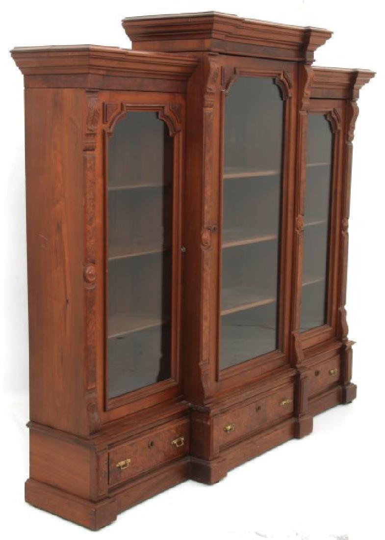 3 Door Walnut Bookcase - 9