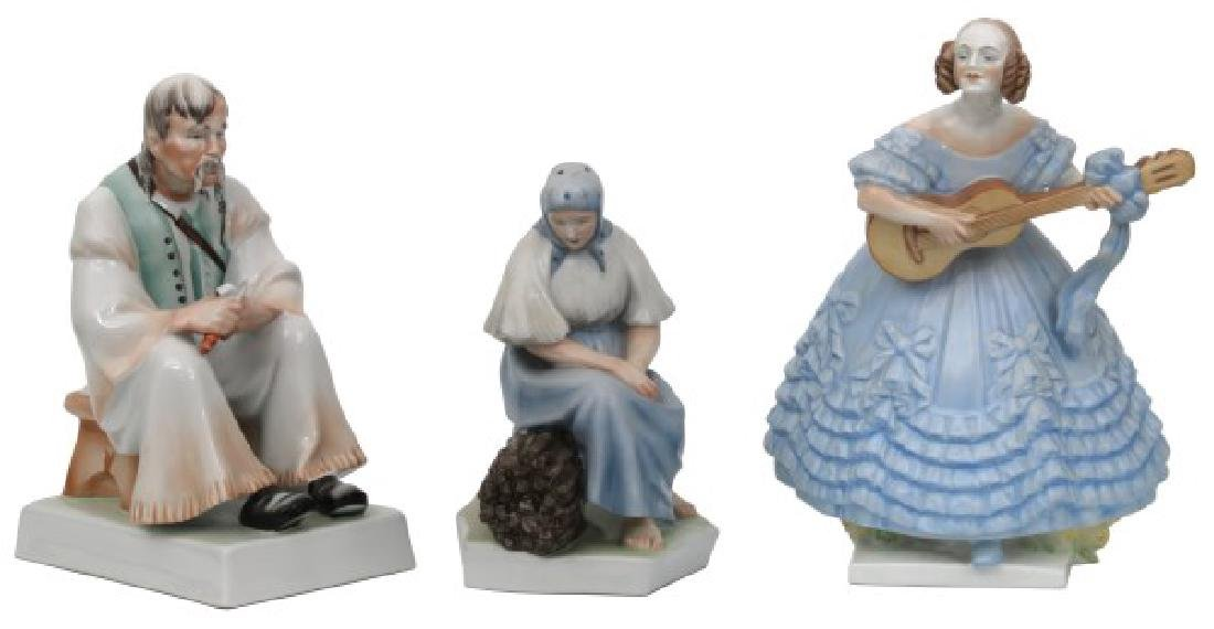 3 Lg. Zsolnay and Herend Porcelain Figures