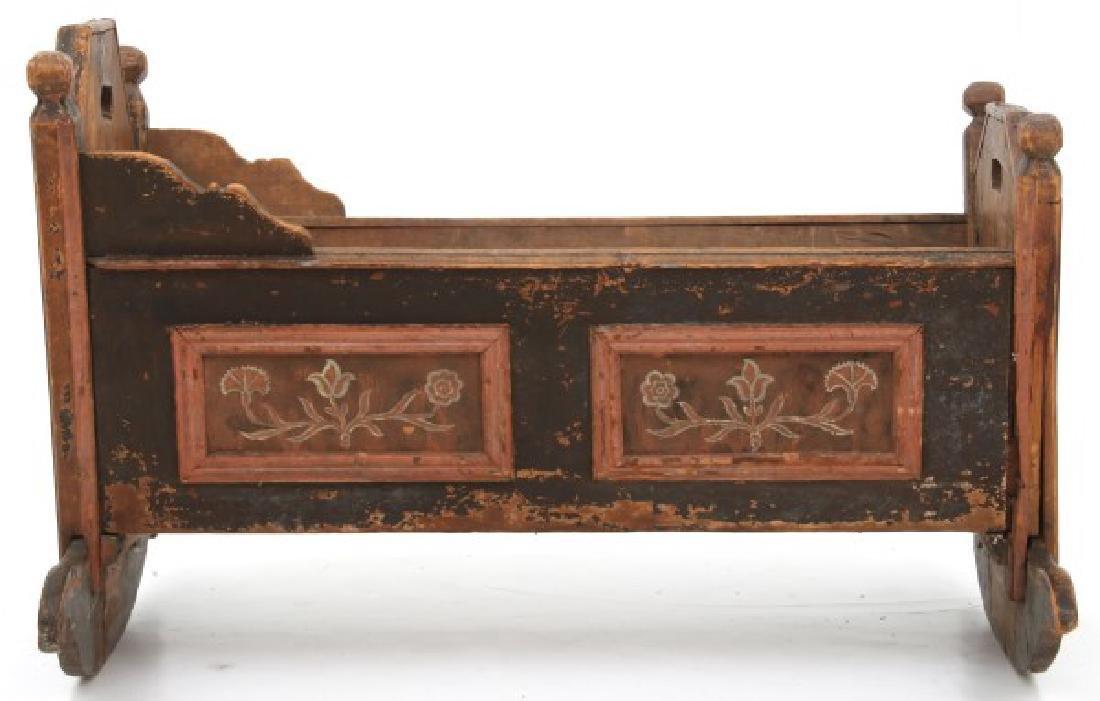Pine Paint Decorated Cradle - 10