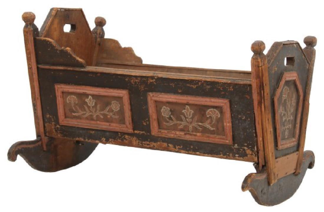Pine Paint Decorated Cradle