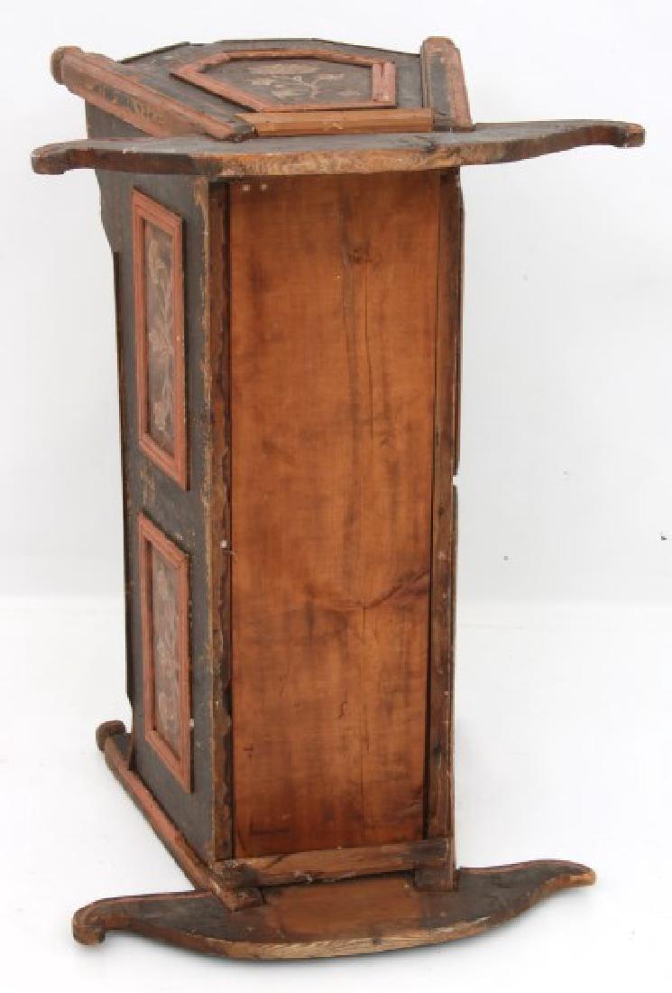 Pine Paint Decorated Cradle - 8