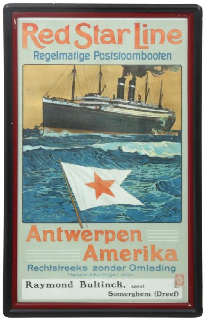Red Star Line Steam Boat Travel Poster