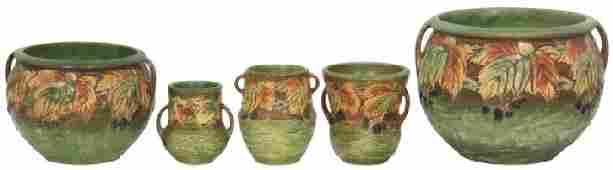 5 Pcs Roseville Pottery Blackberry Pattern