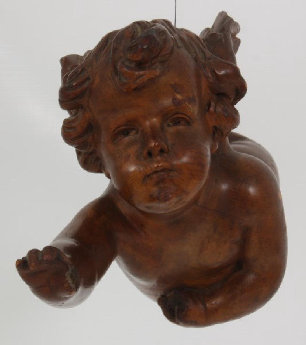Carved Winged Putti Hanging Figure - 2