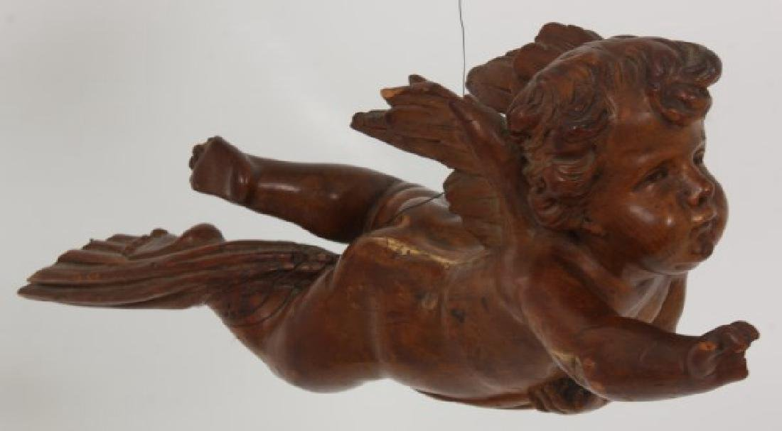 Carved Winged Putti Hanging Figure - 3
