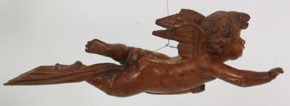 Carved Winged Putti Hanging Figure - 4