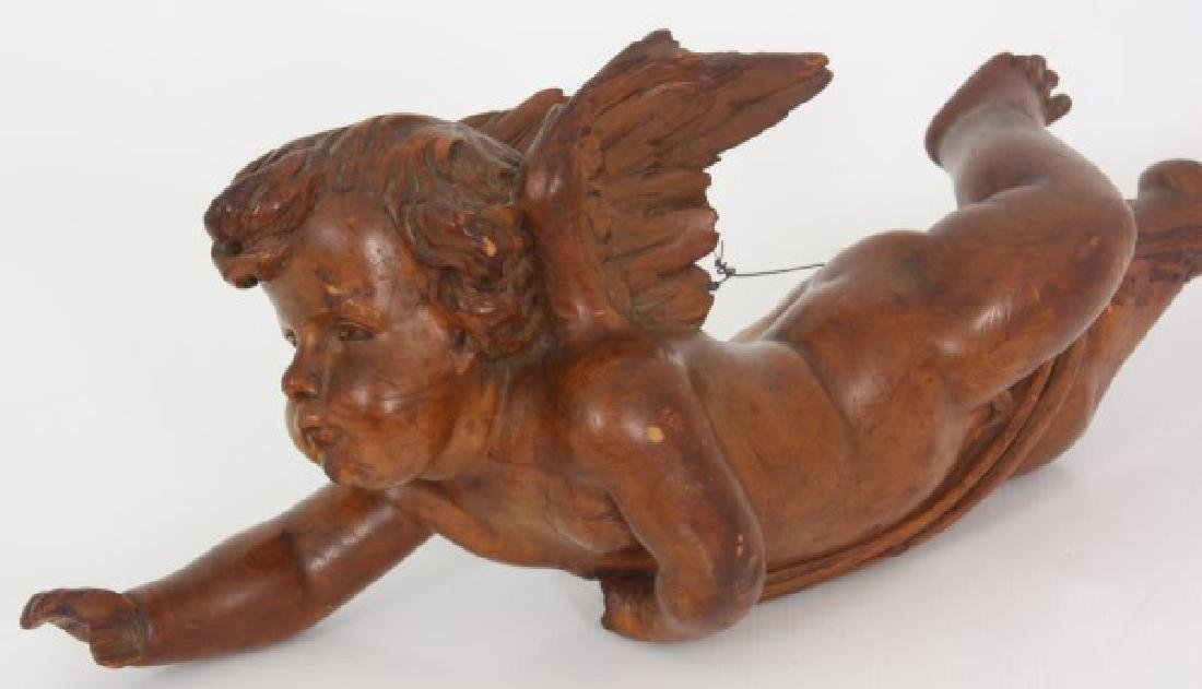 Carved Winged Putti Hanging Figure - 7