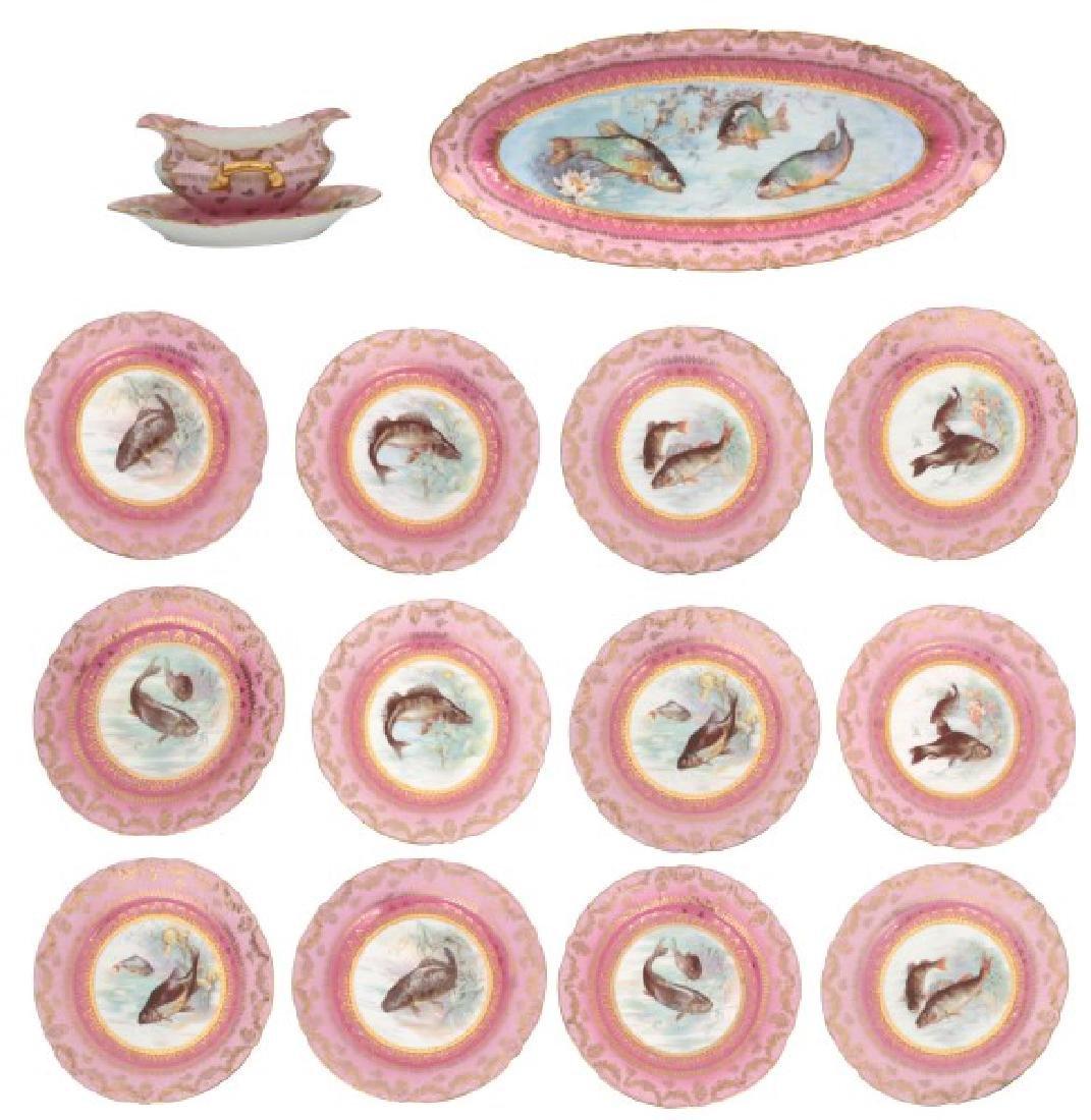 14 Pcs. Victoria Carlsbad Porcelain Fish Set