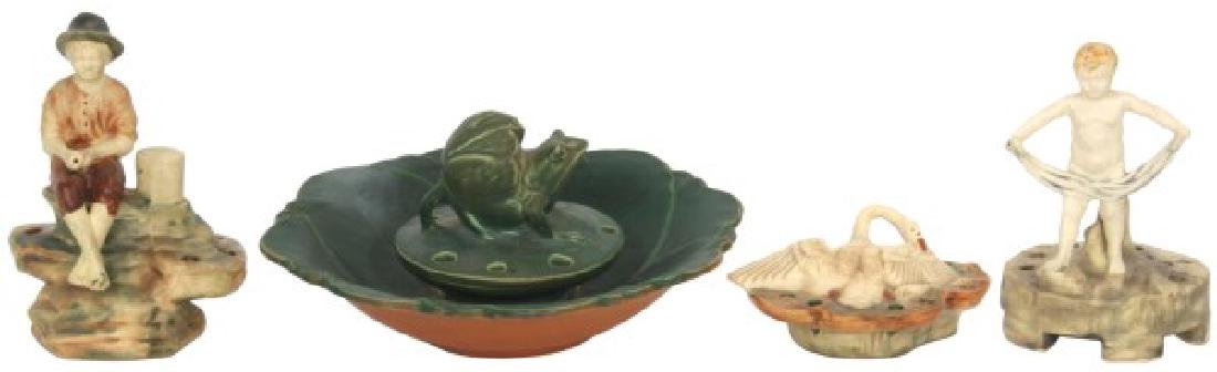 4 Weller Pottery Flower Frogs w/ Bowl