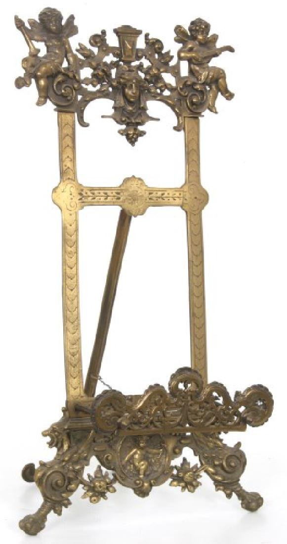 Relief Decorated Brass Table Easel - 10