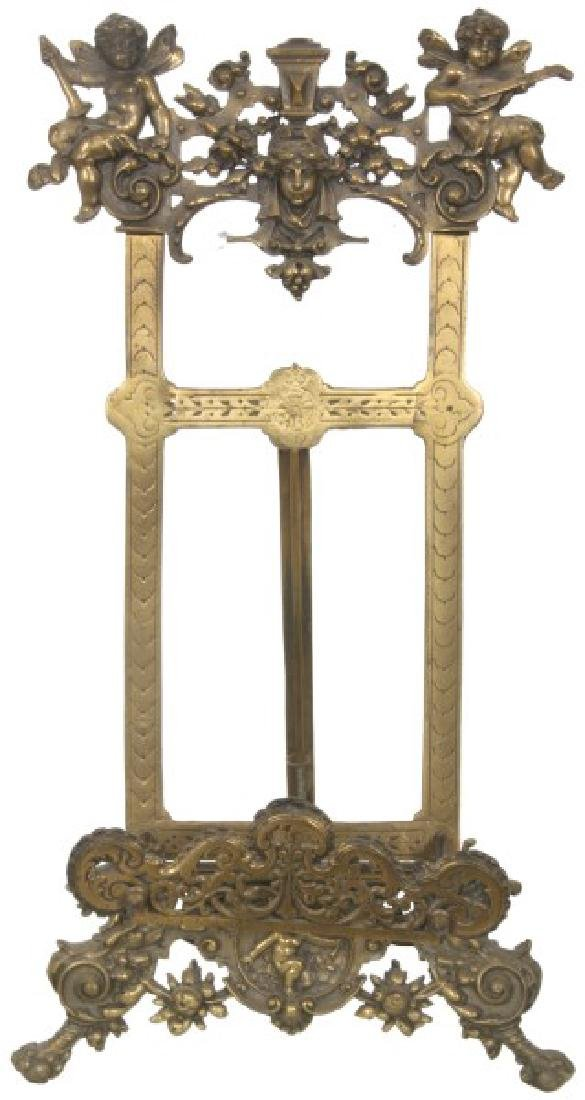 Relief Decorated Brass Table Easel