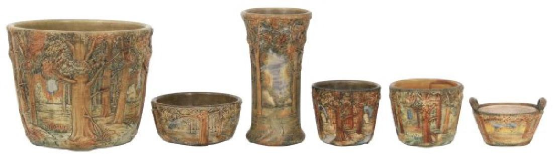 "6 Pcs. Weller Pottery ""Forest Pattern"""