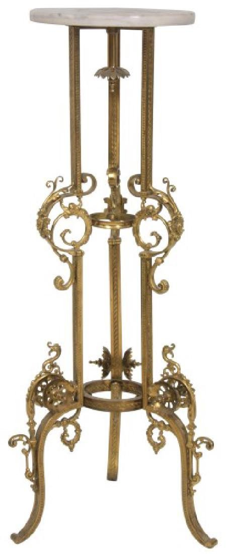 Gilt Bronze Marble Top Plant Stand