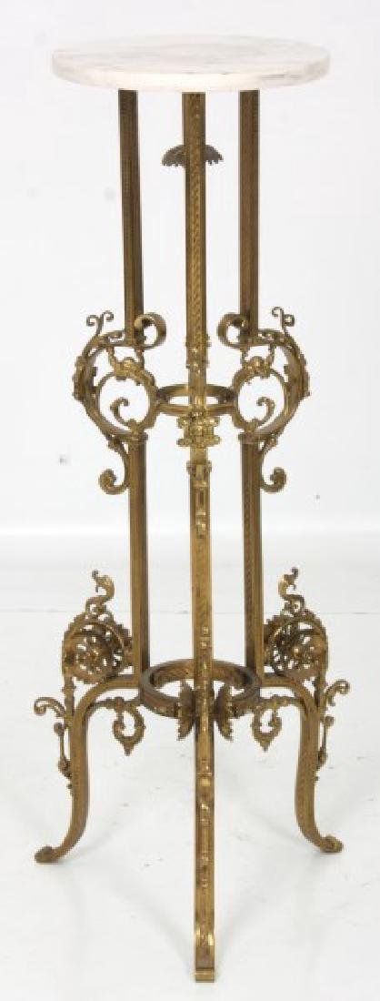Gilt Bronze Marble Top Plant Stand - 3