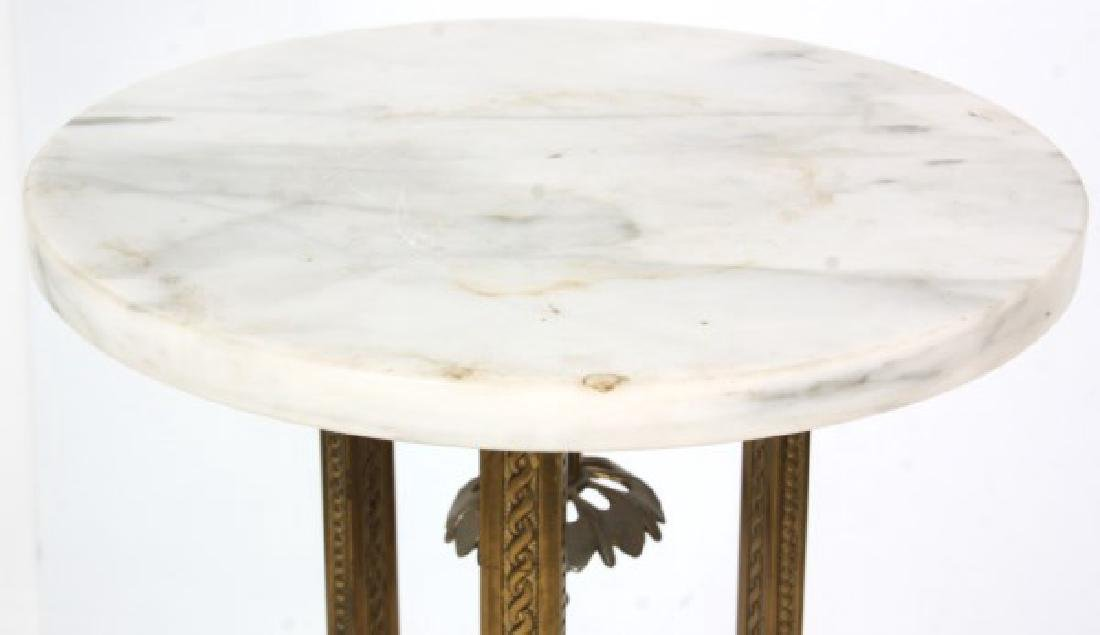 Gilt Bronze Marble Top Plant Stand - 4
