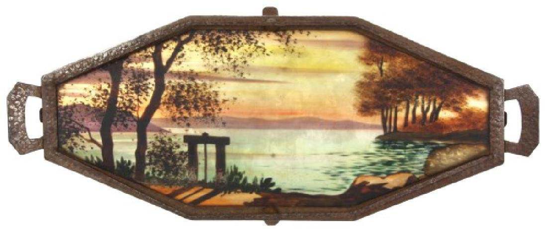 Reverse Painted Arts & Crafts Serving Tray