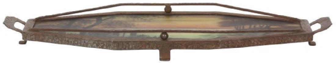 Reverse Painted Arts & Crafts Serving Tray - 2