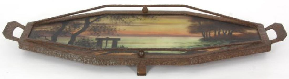 Reverse Painted Arts & Crafts Serving Tray - 4