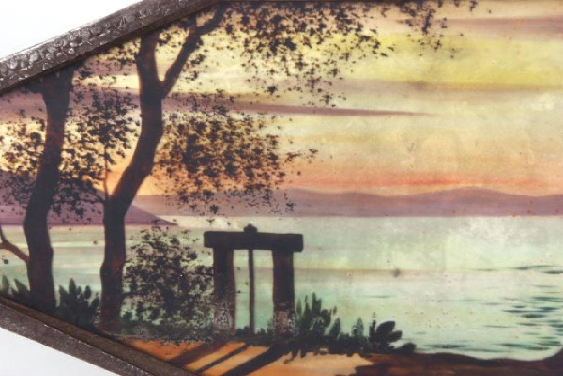 Reverse Painted Arts & Crafts Serving Tray - 6