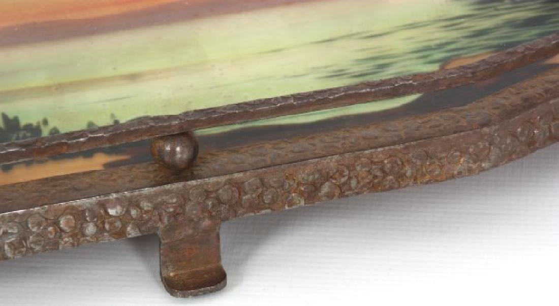 Reverse Painted Arts & Crafts Serving Tray - 8