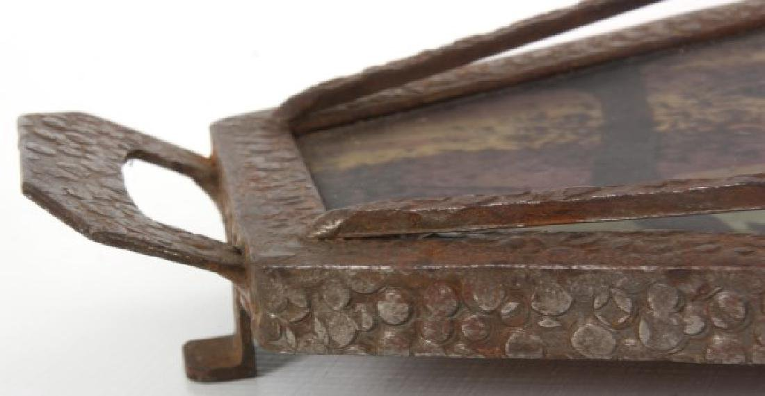 Reverse Painted Arts & Crafts Serving Tray - 9