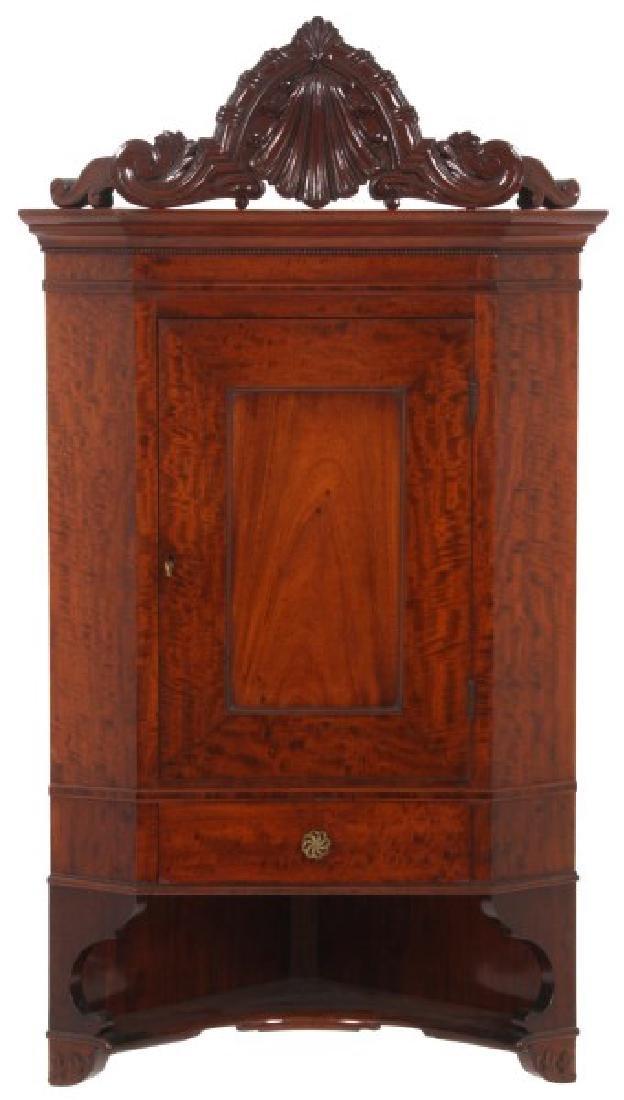 Custom Hand Made Mahogany Corner Cabinet