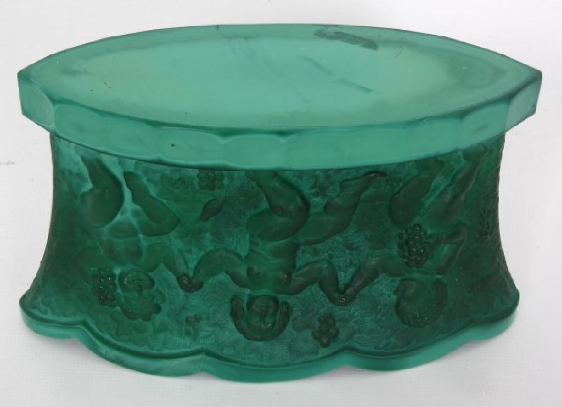 Czech Malachite Glass Fernery - 8