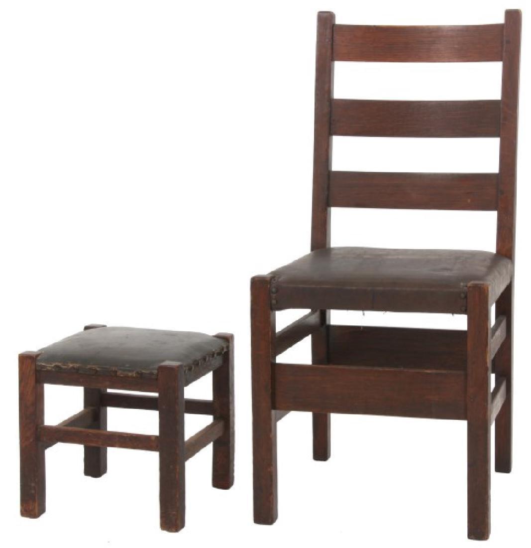 Oak Arts & Crafts Chair & Footstool