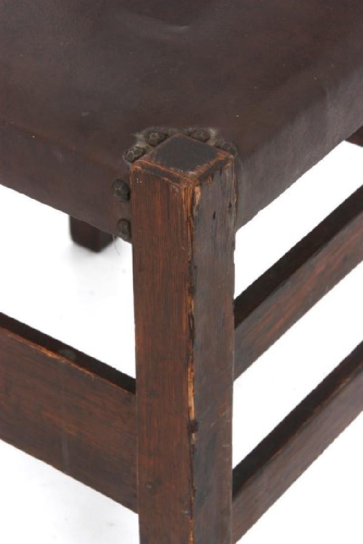 Oak Arts & Crafts Chair & Footstool - 3