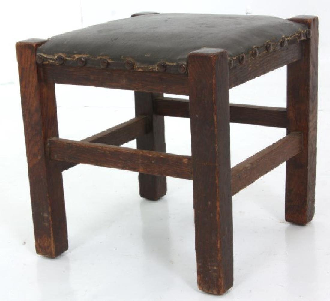 Oak Arts & Crafts Chair & Footstool - 7