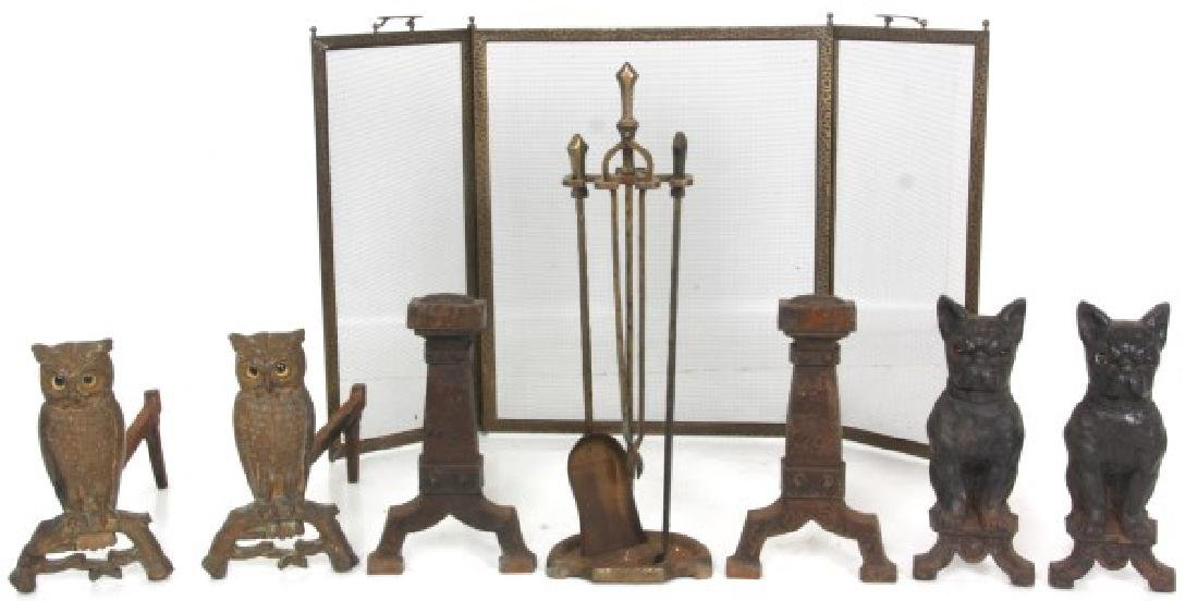3 Sets Of Andirons And Fireplace Tools
