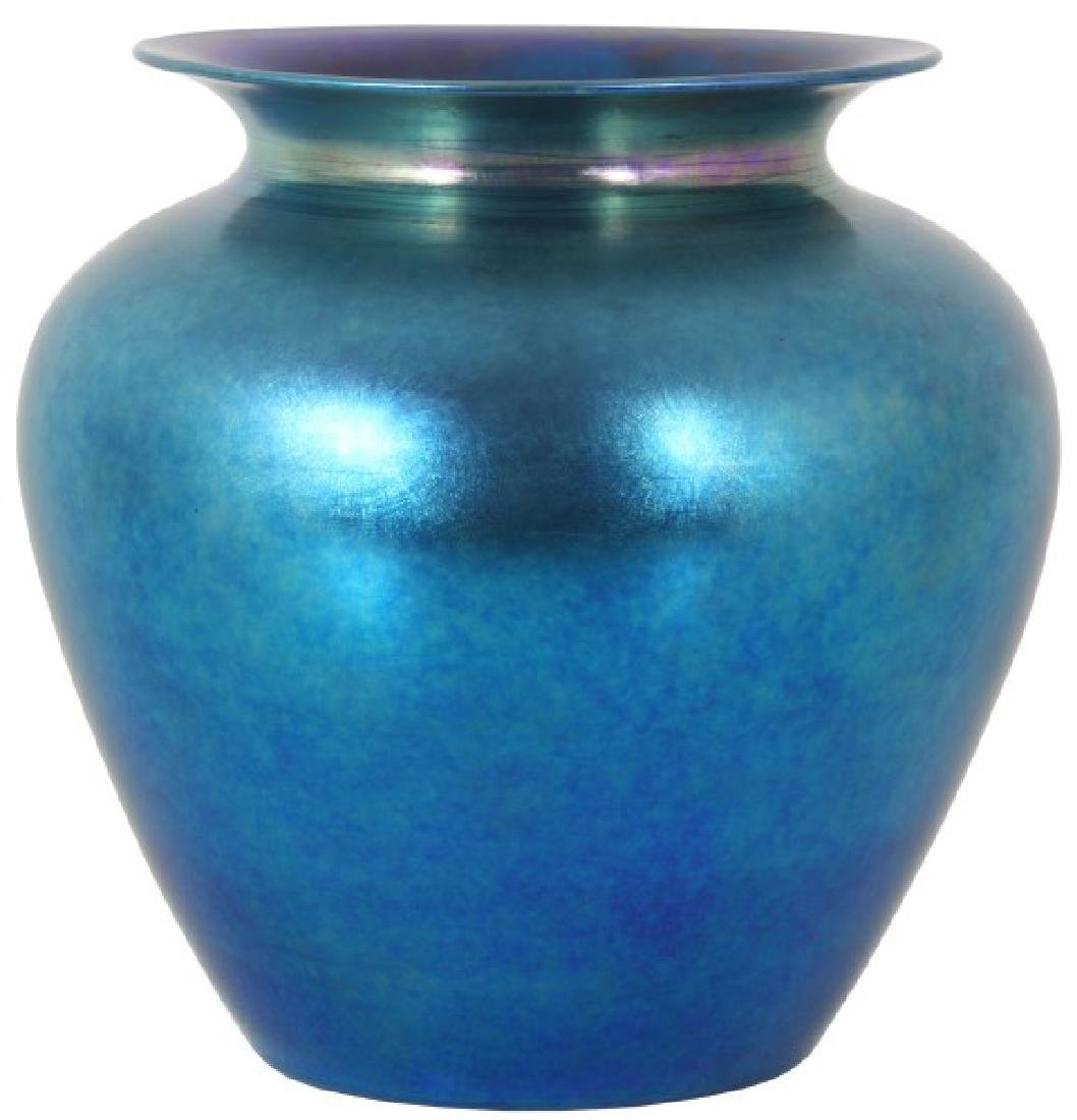 Large Durand Blue Iridescent Vase