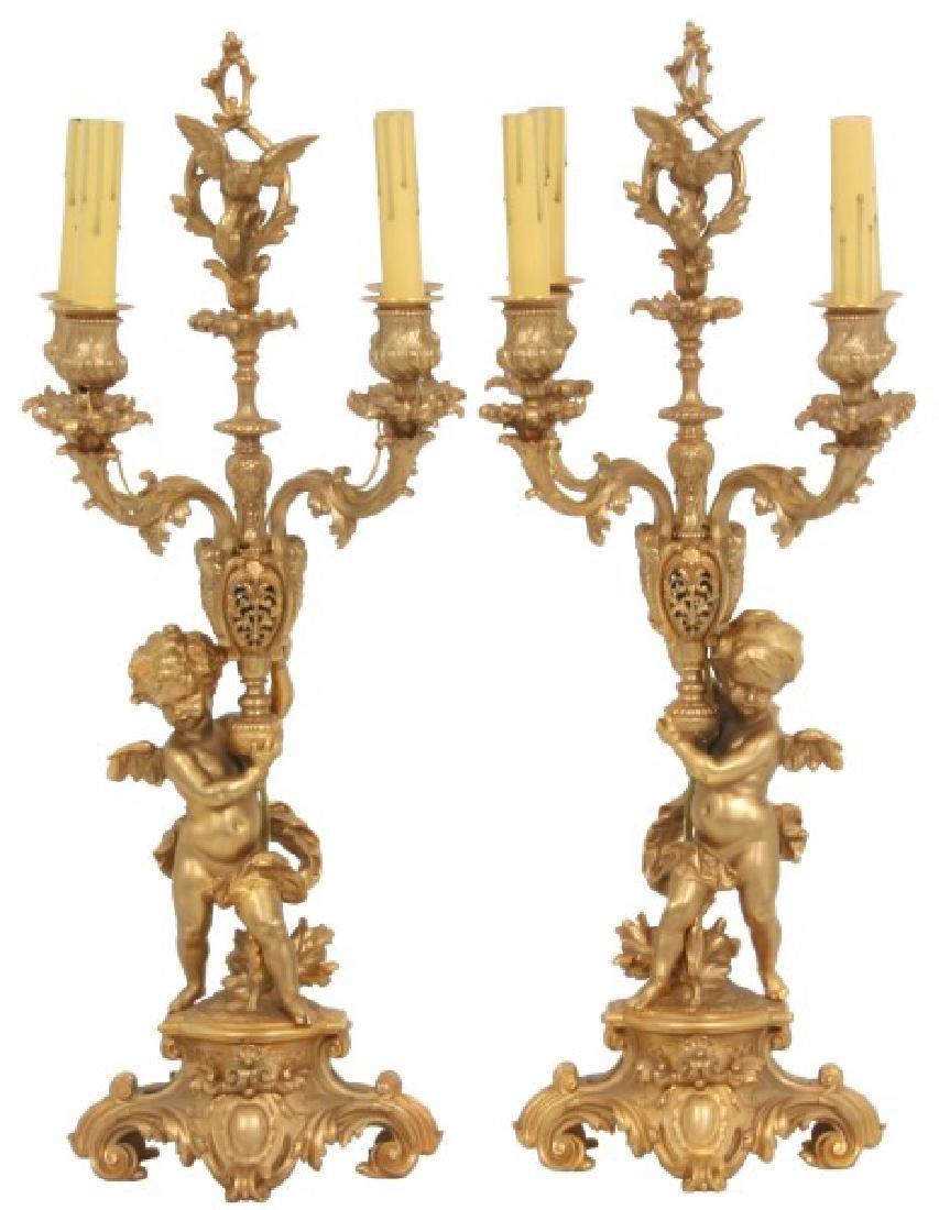 Pr. Gilt Bronze Figural Putti Candelabra