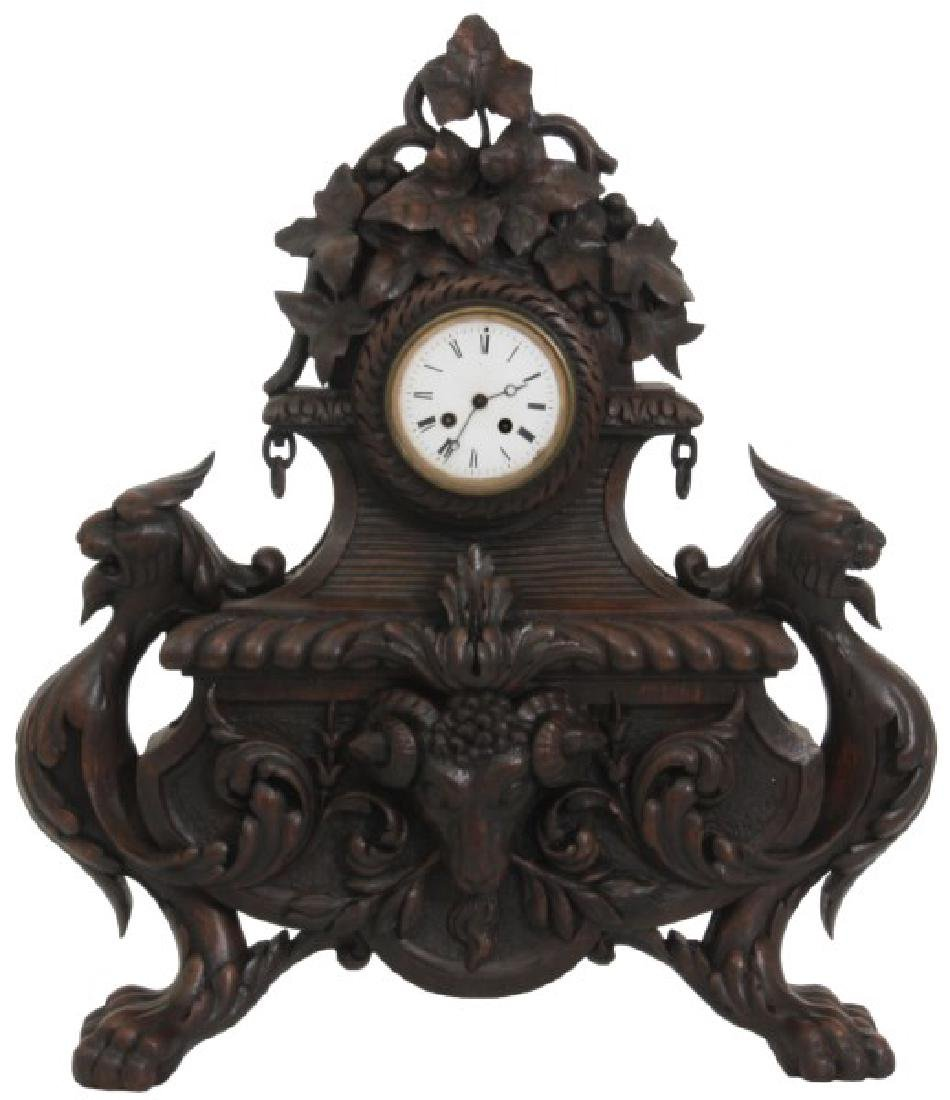 Figural Carved Oak Griffin Mantle Clock