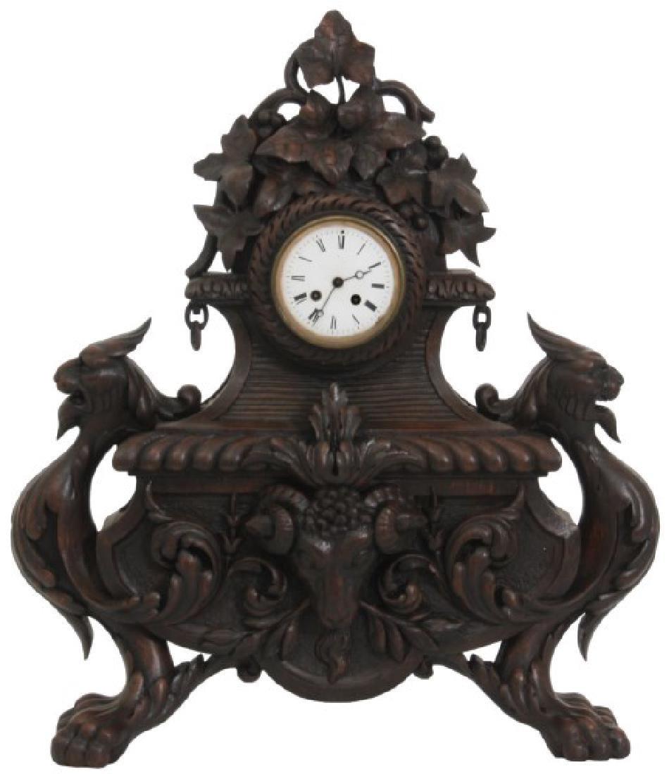 Figural Carved Oak Griffin Mantle Clock