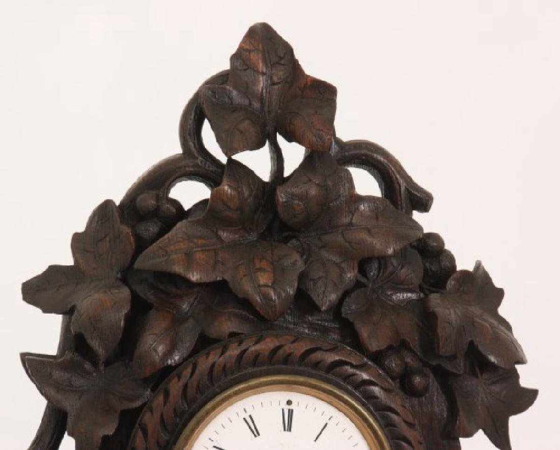 Figural Carved Oak Griffin Mantle Clock - 2