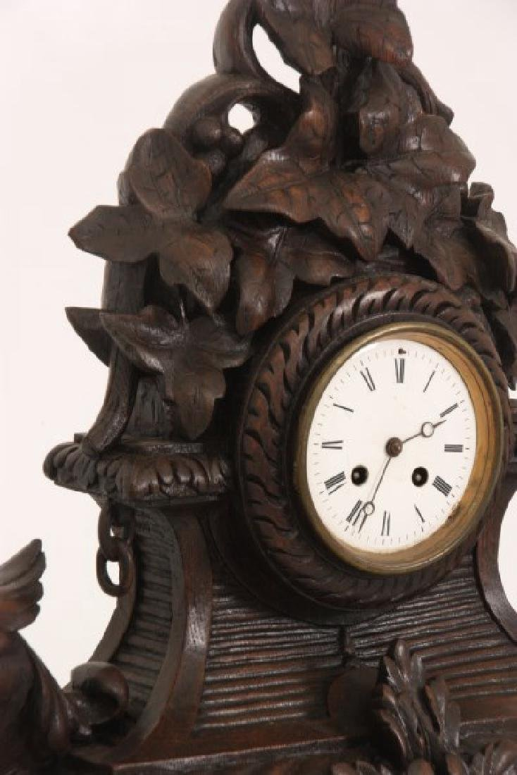 Figural Carved Oak Griffin Mantle Clock - 6