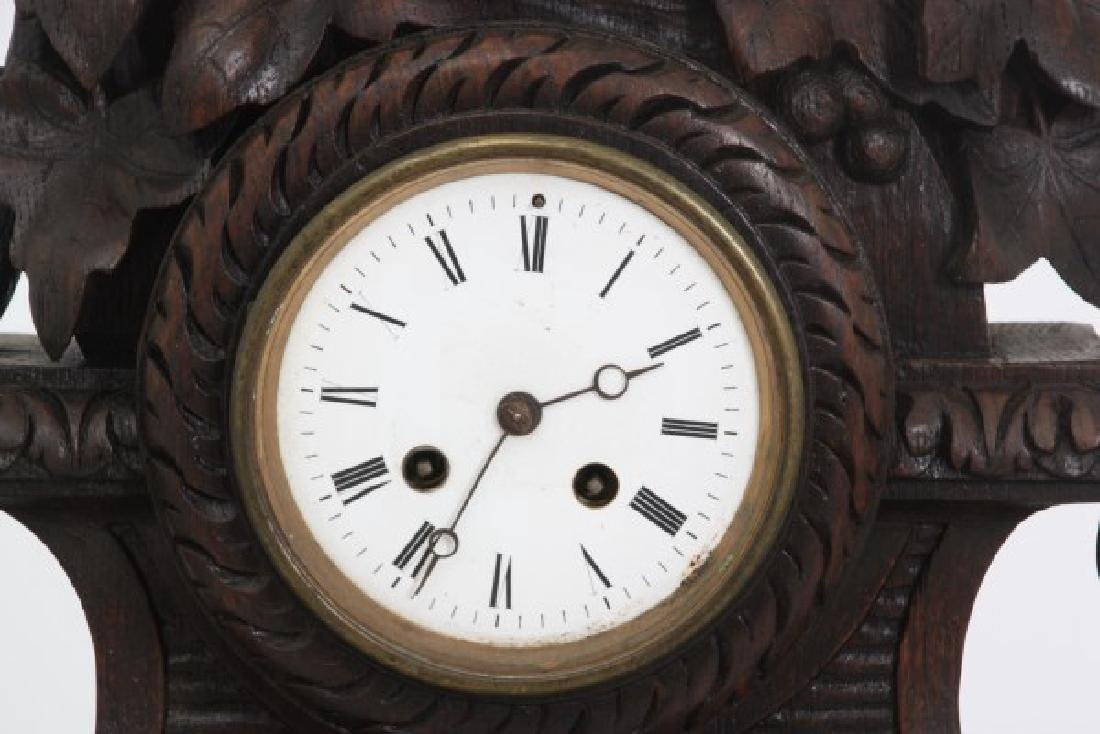 Figural Carved Oak Griffin Mantle Clock - 7