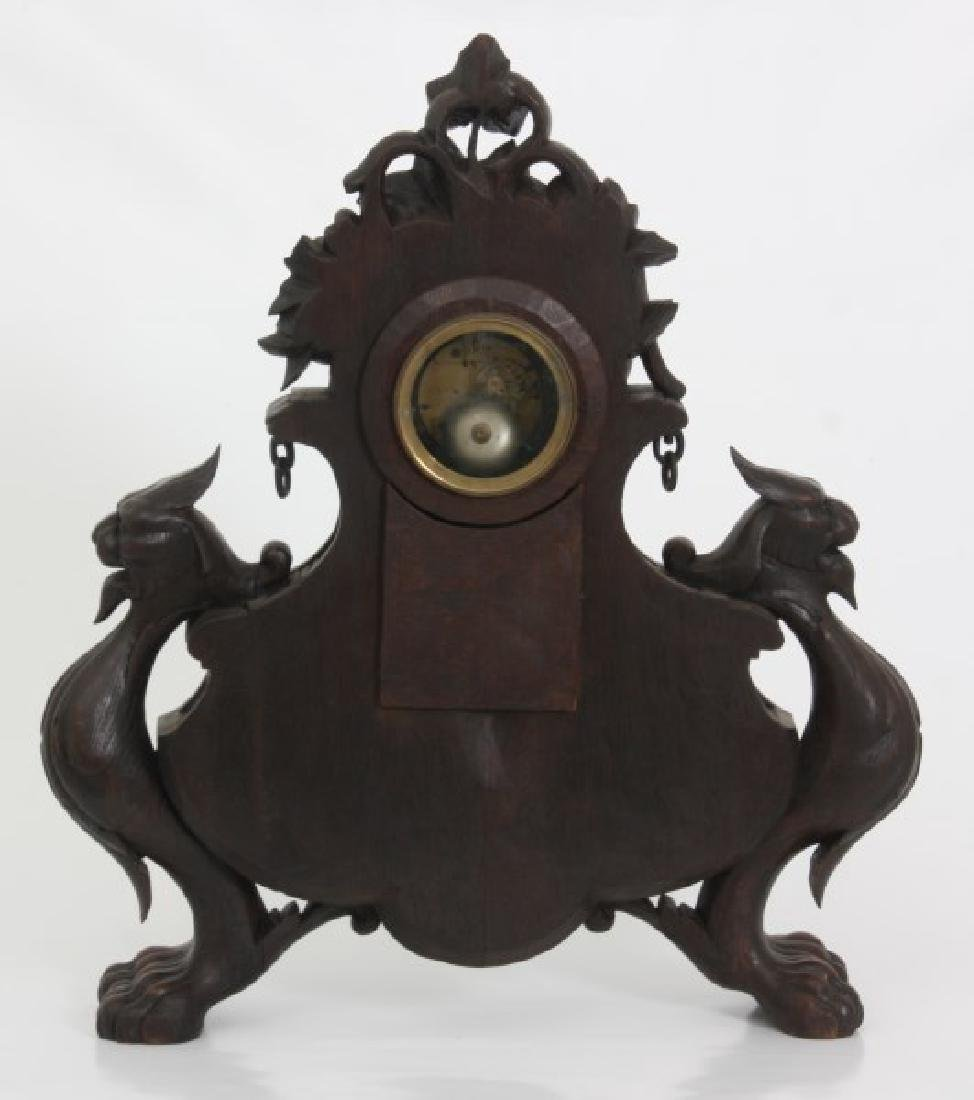 Figural Carved Oak Griffin Mantle Clock - 9