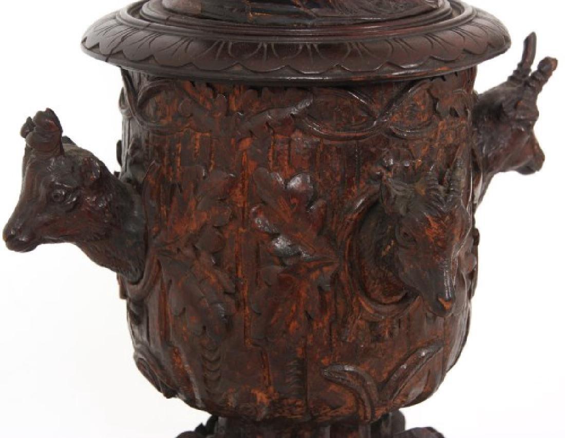 Lg Figural Black Forest Covered Urn - 3