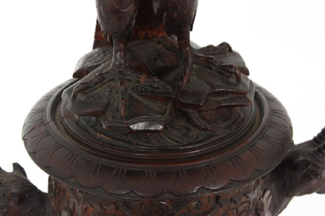 Lg Figural Black Forest Covered Urn - 5